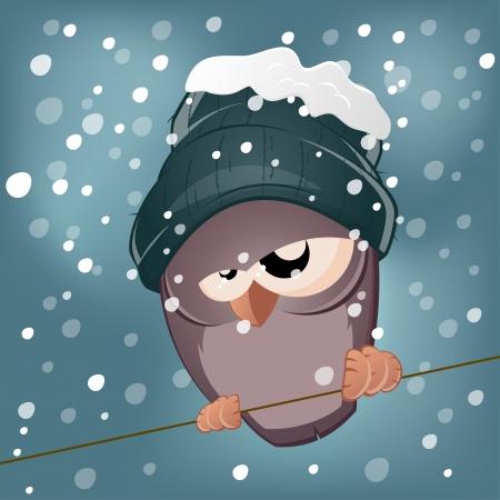 dreary: funny cartoon bird in winter