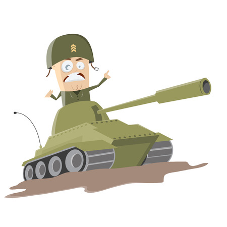 western cartoon soldier in a tank Vector