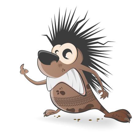 swear: cartoon hedgehog with tire track  Illustration