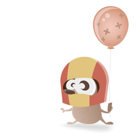 repaired: hedgehog with helmet and fixed balloon Illustration