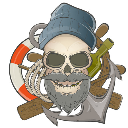 calavera caricatura: marinero cr�neo