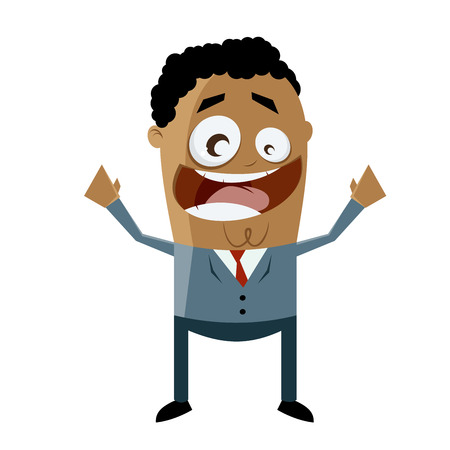 outstretched: cheerful african-american businessman Illustration
