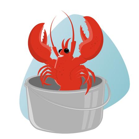 lobster pots: funny cartoon lobster in pot Illustration