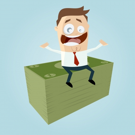 lucky man: funny businessman is earning money