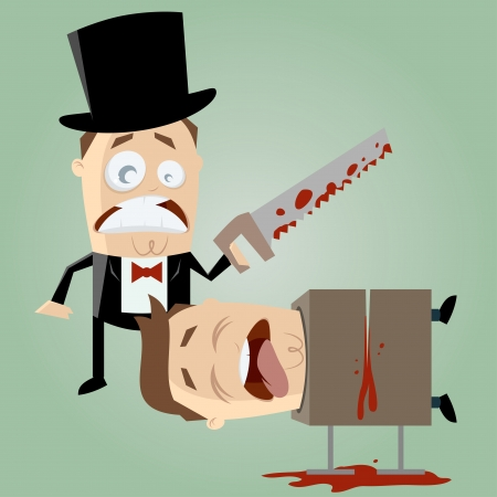 unskilled: unskilled magician with a saw