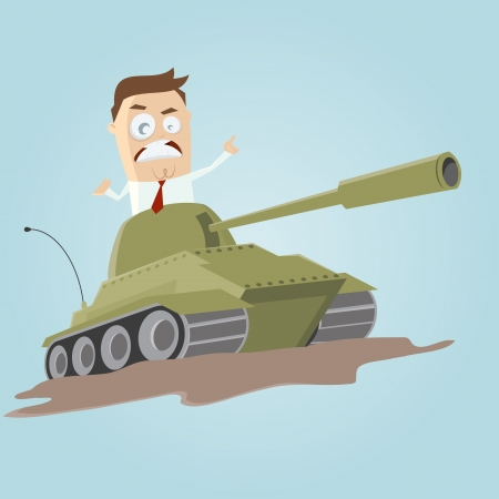 businessman in a tank Stock Vector - 25040734
