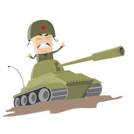 asian cartoon soldier in a tank Vector