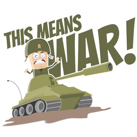 cartoon soldat: lustigen Comic-Tank Illustration