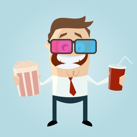 softdrink: Funny man with popcorn and cola is watching 3d movie