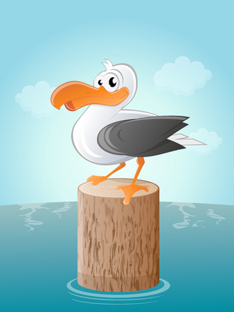 funny cartoon seagull Vector