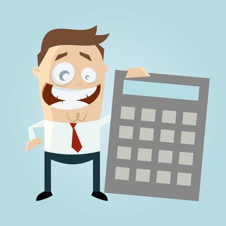 happy businessman with big calculator Ilustração