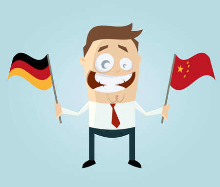 businessman with german and chinese flag Vector
