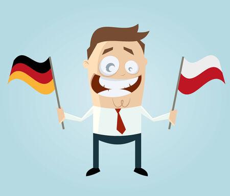 polish flag: businessman with german and polish flag Illustration