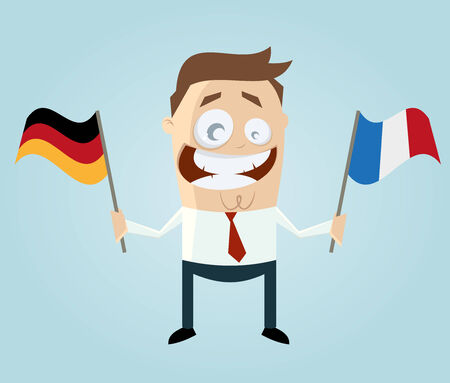 french flag: businessman with german and french flag Illustration
