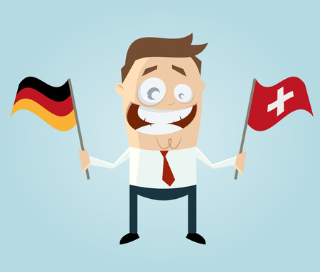 switzerland flag: businessman with german and swiss flag