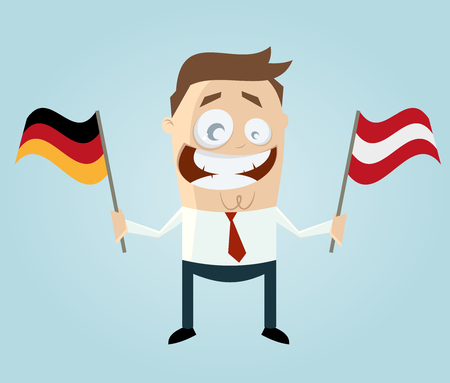 businessman with german and austrian flag Vector