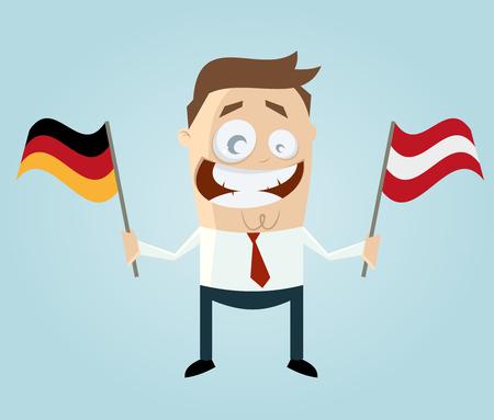 austrian flag: businessman with german and austrian flag