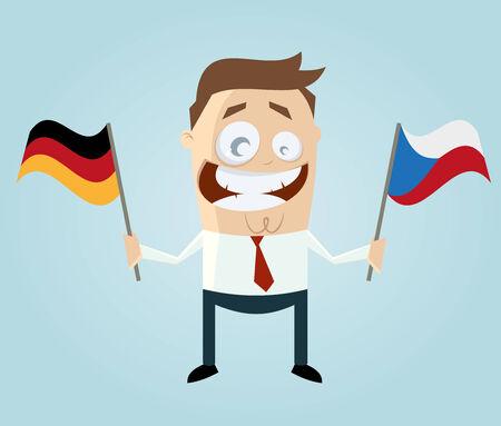 czech flag: uomo d'affari con bandiera tedesca e ceca