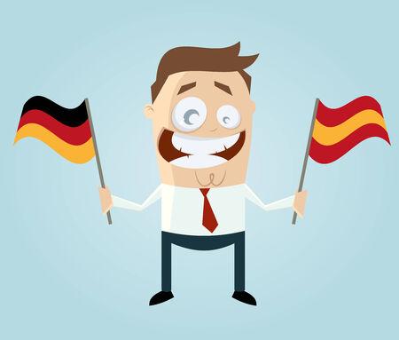 spain flag: businessman with german and spanish flag