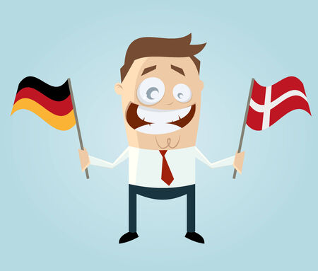 danish flag: businessman with german and danish flag