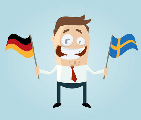 businessman with german and swedish flag Vector