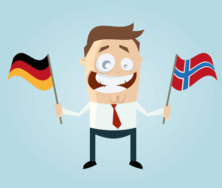 german flag: businessman with german and norwegian flag