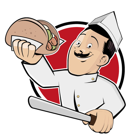 funny doner cartoon in a badge Vectores