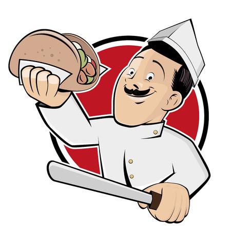 pinchos morunos: dibujos animados doner divertido en una insignia