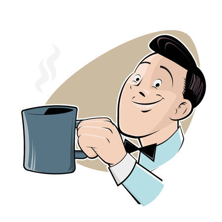 retro cartoon man with cup of coffee Ilustração