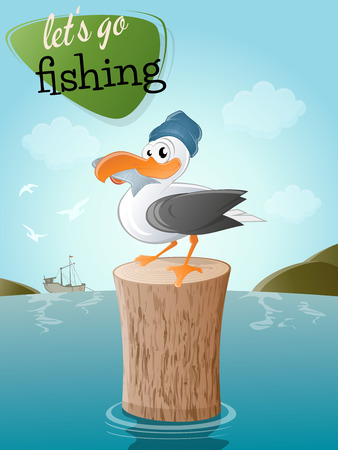 funny cartoon seagull with fish and hat Vector