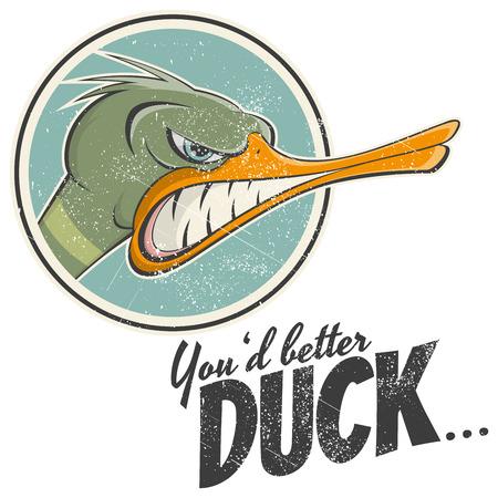 wild duck: vintage cartoon duck