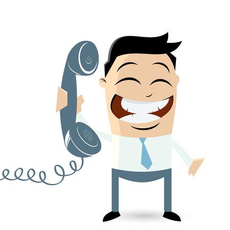 employ� heureux: homme dr�le de bande dessin�e avec le t�l�phone Illustration
