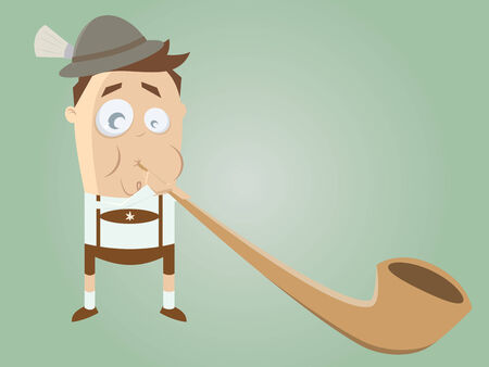 funny bavarian man with traditional alphorn