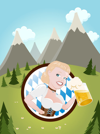 bavarian girl: bavarian girl with beer Illustration