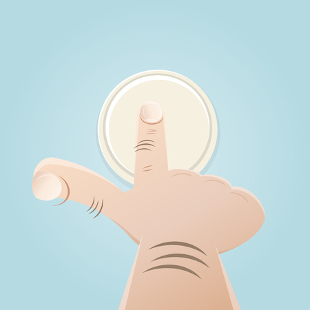 door bell: finger pushing button Illustration
