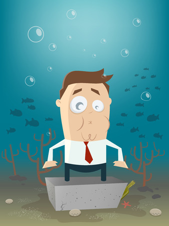 concrete block: business man in concrete block underwater Illustration