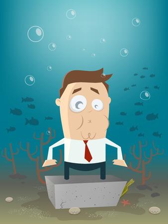 stressed people: business man in concrete block underwater Illustration