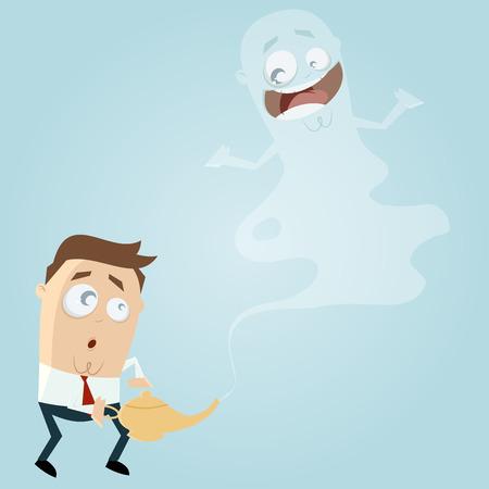 jinn: business man with happy jinn Illustration