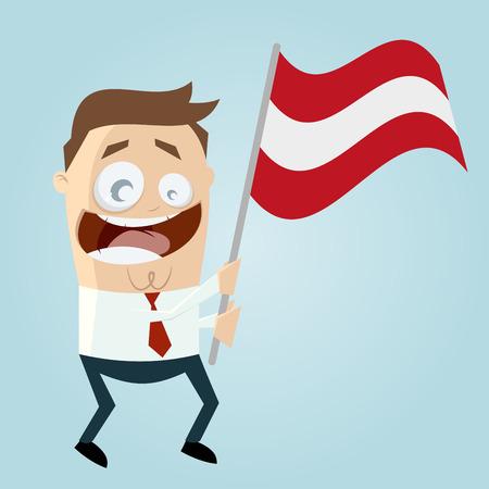 austrian: happy cartoon man with Austrian flag