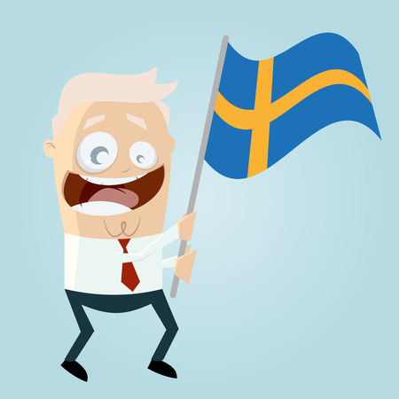 happy cartoon man with Swedish flag Vector