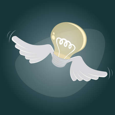 flying bulb Vector