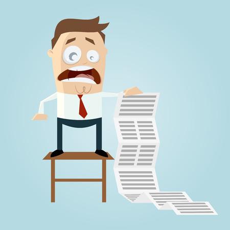 cartoon man with long task list Illustration