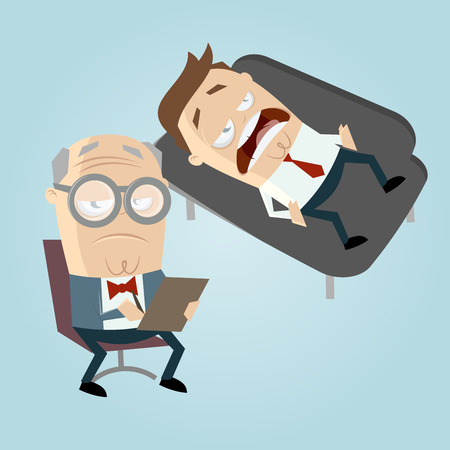 psychiatrist: funny cartoon psychiatrist with patient on couch