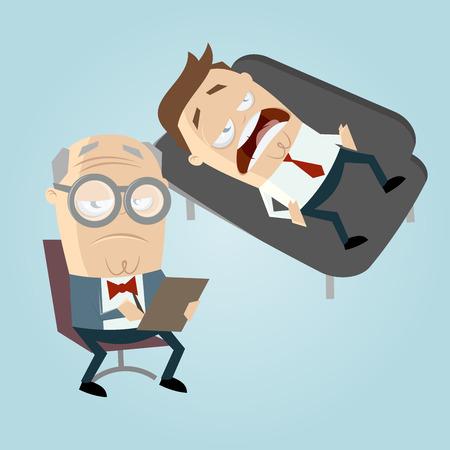 psiquiatra divertido de la historieta con el paciente en el sofá