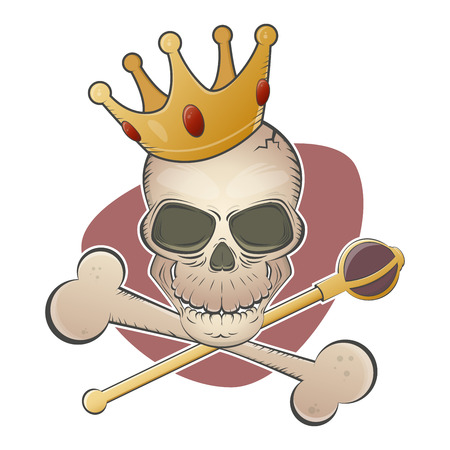 creepy skull with crown and scepter Vector