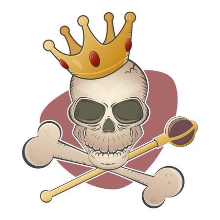 scettro: teschio raccapricciante con corona e scettro