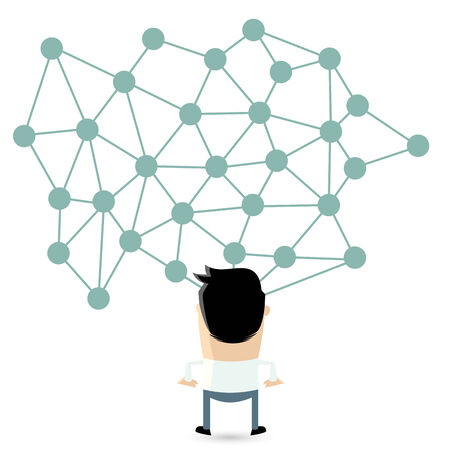 linked: isolated cartoon man in front of a big network