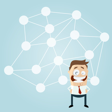 linked: cartoon man in front of a big network