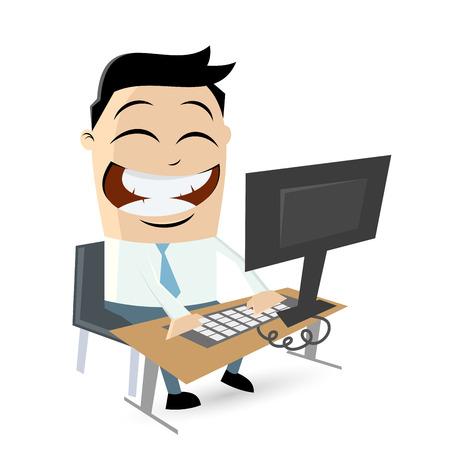 lustigen Comic-Mann sitzt auf Computer