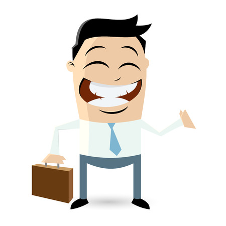 funny cartoon businessman with suitcase Vector